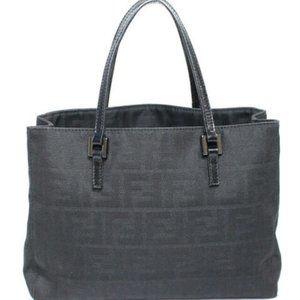 FENDI Zucca Shoulder Mini Tote Bag Black Brown